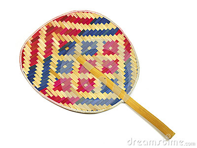 Hand made weave colorful thai fan