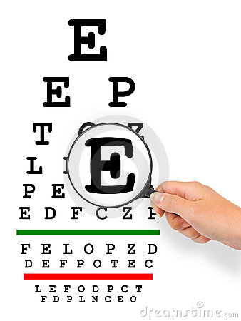 Hand with magnifier and eyesight test chart
