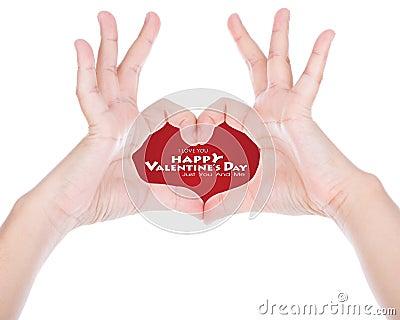 Hand make a heart shape.