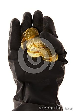 Hand met muntstukken