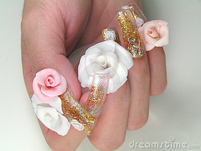 Hand Model Roses Nail Art