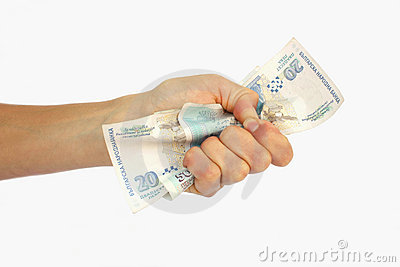 A hand with money