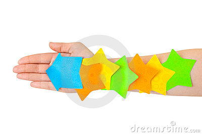 Hand and multicolored note paper