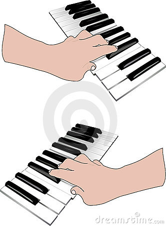 Hand and music keyboards