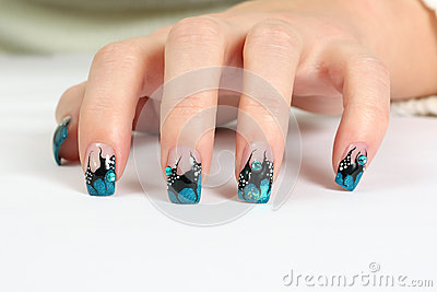 Hand with nail art