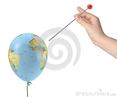 Hand with needle aimed at balloon