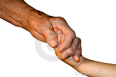 Hand od grandmother and grandchild