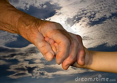 Hand od grandmother and grandchild