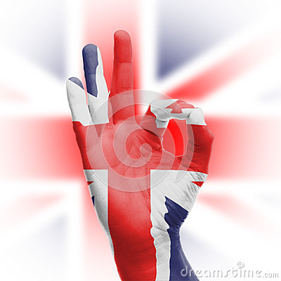 Hand OK sign with UK flag
