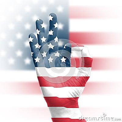 Hand OK sign with USA flag
