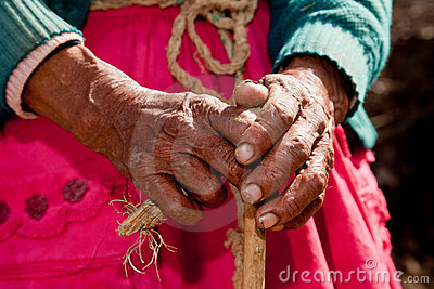 Hand of old woman