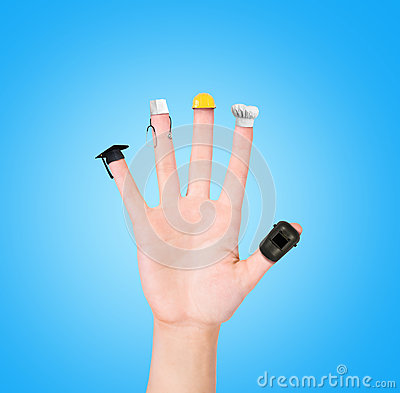 Free Hand On Each Finger Different Professions,career Choice Options Royalty Free Stock Photo - 63833395