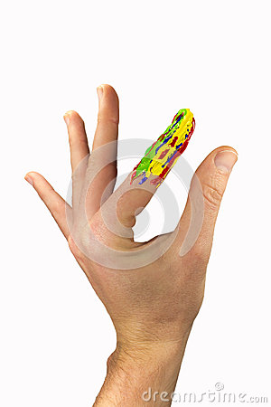 Hand with one multicolor finger