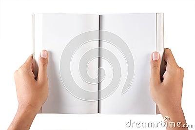 Hand open blank book