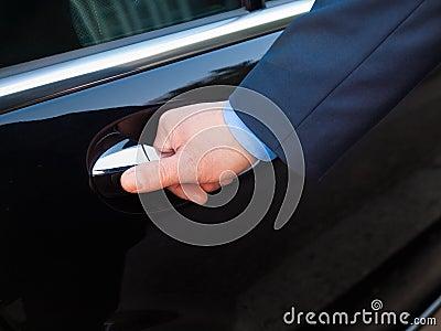 Hand opening limousine door