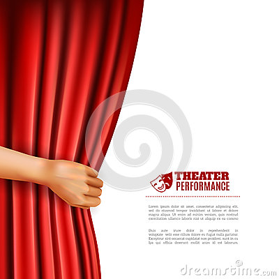 Free Hand Opening Theatre Curtain Illustration Stock Image - 62843621
