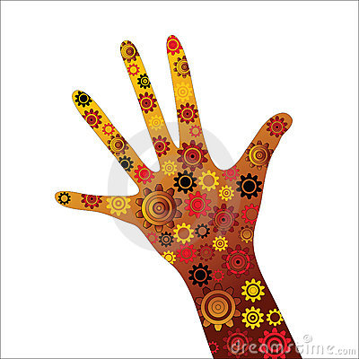 Hand outstretched with gears