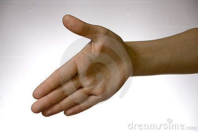 Hand over white