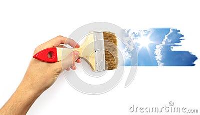 Hand paint the sky