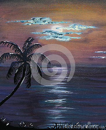 Acrylic Painting Tropical Night Sky