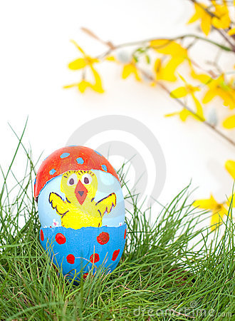 Hand painted Easter Chick on an egg shell