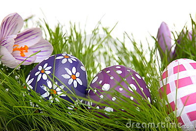 Hand-painted Easter eggs hidden in the grass