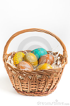 Free Hand Painted Easter Eggs On White Stock Image - 52302221