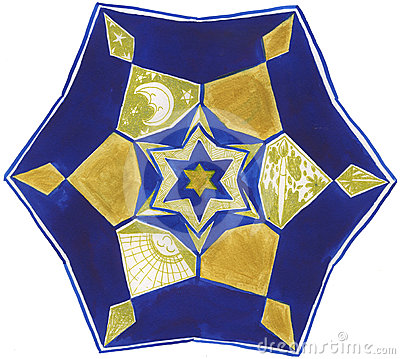 Hand Painted Mandala: Blue And Gold Royalty Free Stock Images - Image: 24054359