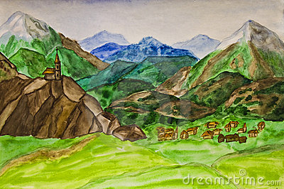 Hand painted picture, Italian landscape