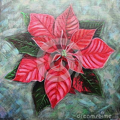 Hand painted poinsettia