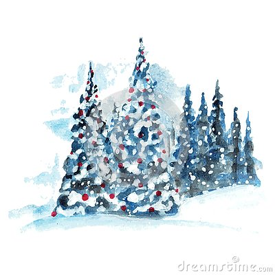 Free Hand Painted Watercolor Christmas Tree Stock Photos - 144730183