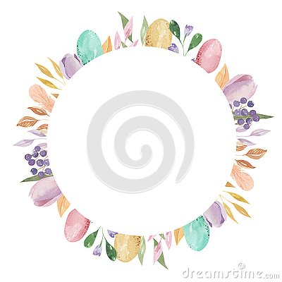 Easter Eggs Circle Frame Rectangle Watercolor Feather Pastel Spring Leaves Pink Floral Stock Photo