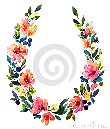 Free Hand Painted Watercolor Wreath. Flower Decoration. Stock Photos - 45443653