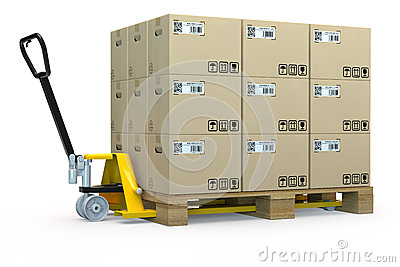Hand pallet truck with many boxes