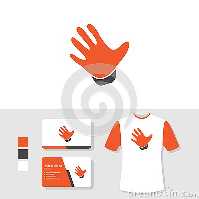 Hand palm logo design with business card and t shirt mockup Vector Illustration
