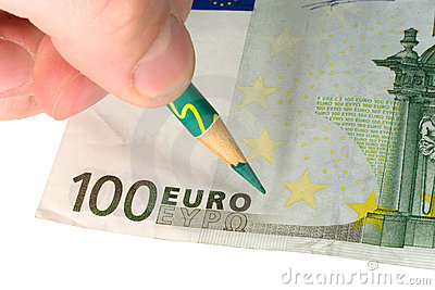 Hand with a pencil and a euro bill