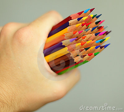 Hand with pencils