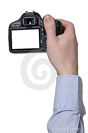Hand with  photo camera