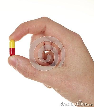 Pill on hand