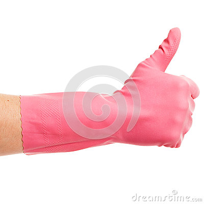 Hand in a pink domestic glove shows ok