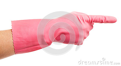 Hand in a pink domestic glove shows