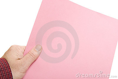 Hand with Pink Slip