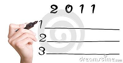 Hand Planning 2011 Goals on Whiteboard