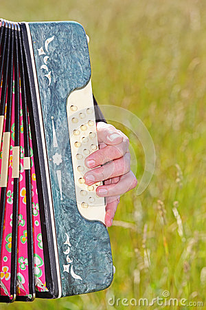 Hand play accordion in field