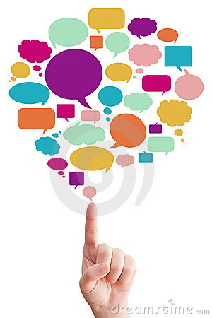 Free Hand Point To Many Speak Bubbles Royalty Free Stock Photography - 21385417