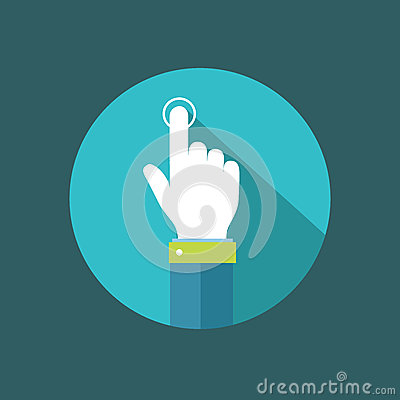 Free Hand Pointer Clicking On Button Flat Illustration Stock Photos - 46448853