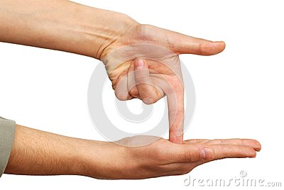 Hand pointing down