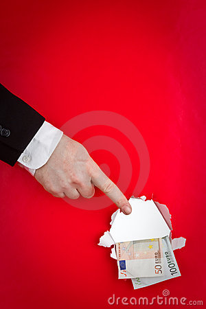 Hand pointing to money