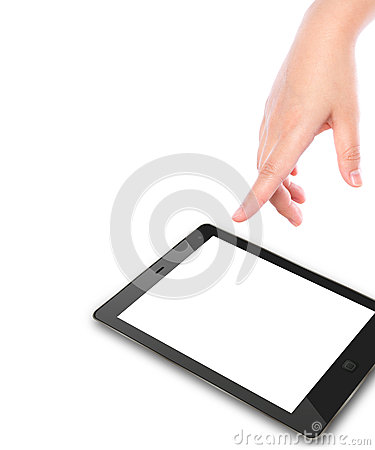 Hand pointing on touch screen device