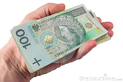 Hand with polish money